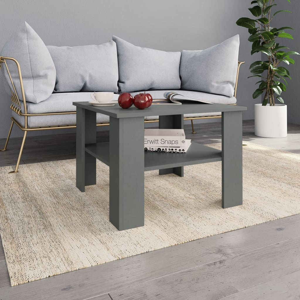 Coffee Table Grey 60x60x42 cm Chipboard 1
