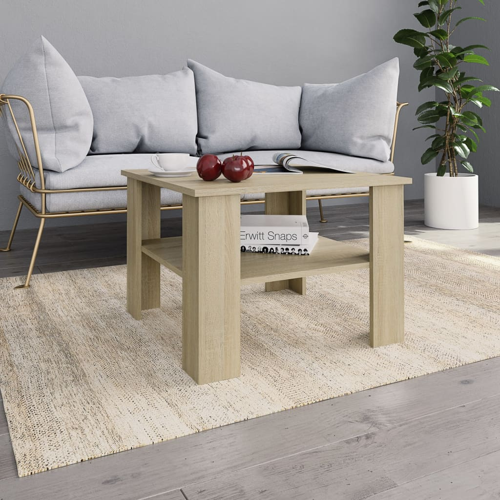 Coffee Table Sonoma Oak 60x60x42 cm Chipboard