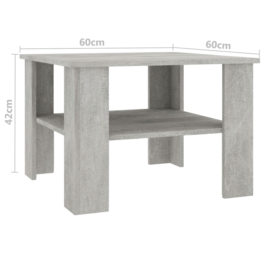 Coffee Table Concrete Grey 60x60x42 cm Chipboard 5