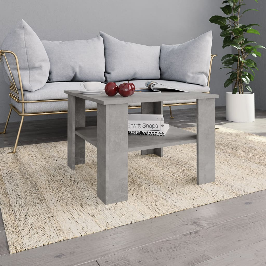 Coffee Table Concrete Grey 60x60x42 cm Chipboard 1