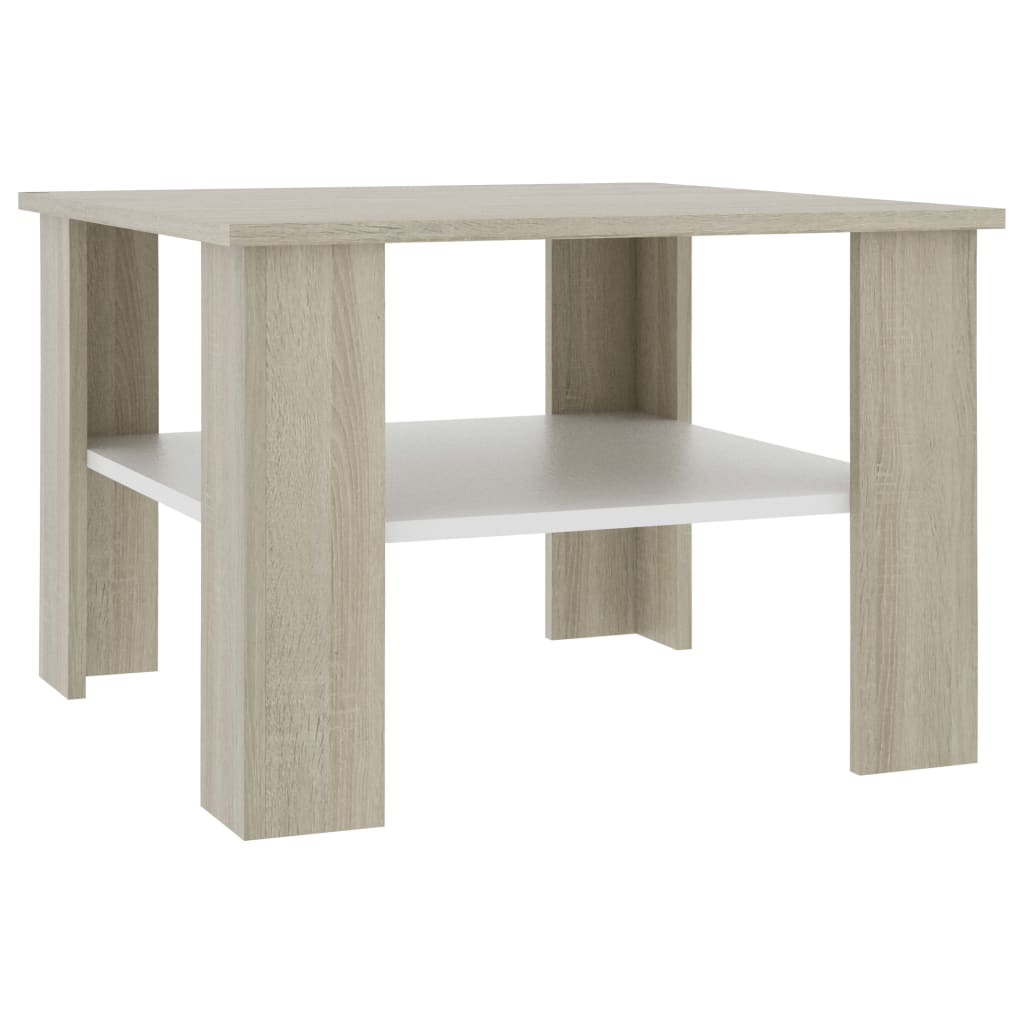 Coffee Table White and Sonoma Oak 60x60x42 cm Chipboard 2