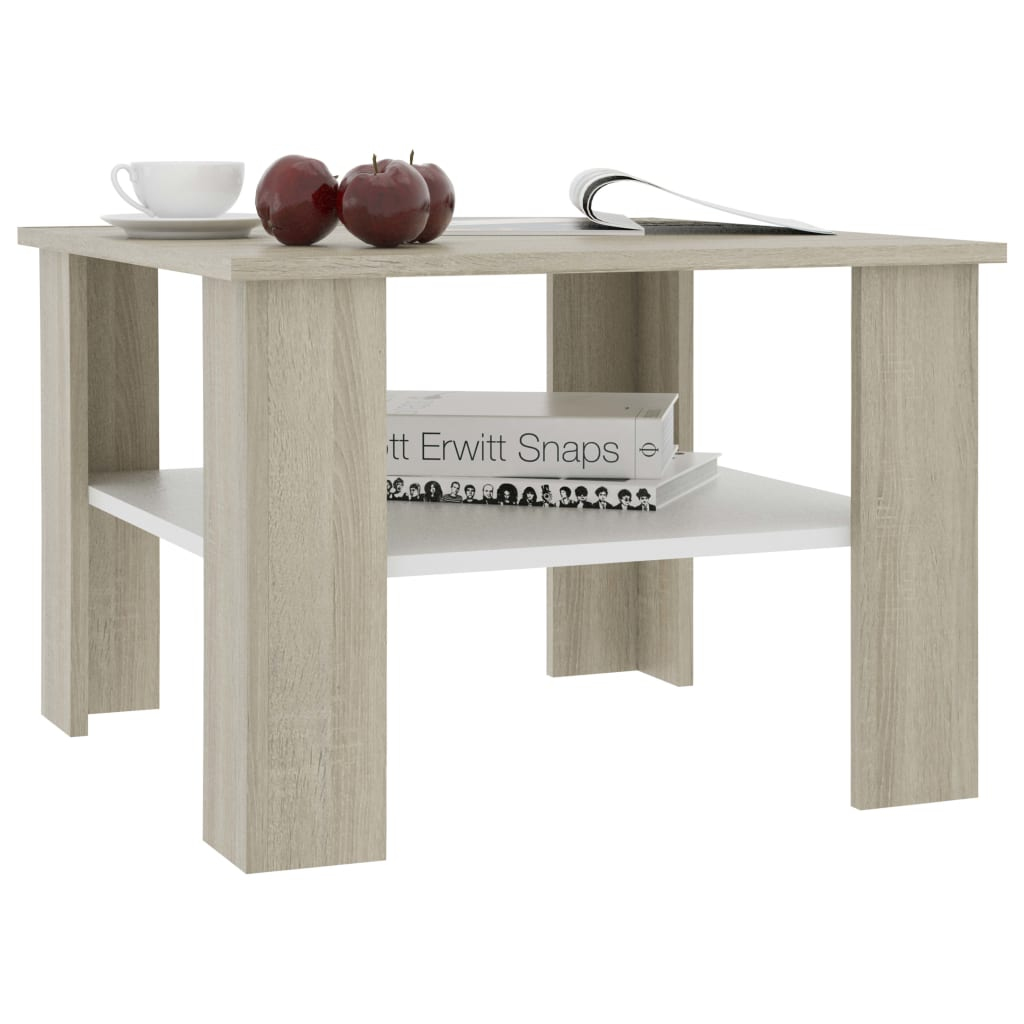 Coffee Table White and Sonoma Oak 60x60x42 cm Chipboard 3