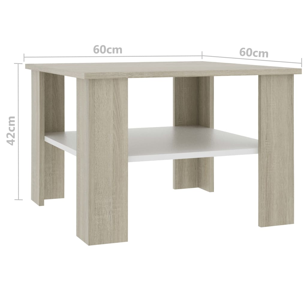 Coffee Table White and Sonoma Oak 60x60x42 cm Chipboard 5