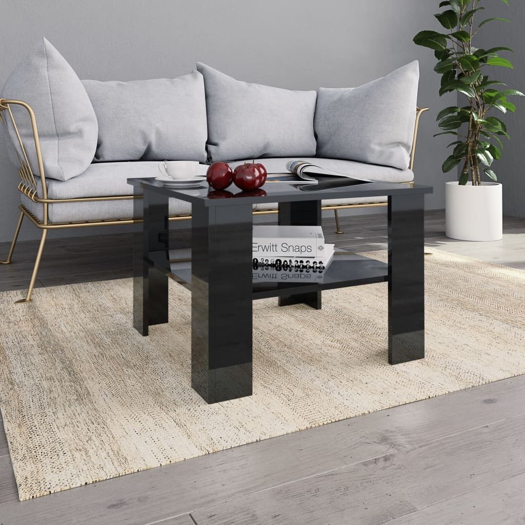 Coffee Table High Gloss Black 60x60x42 cm Chipboard