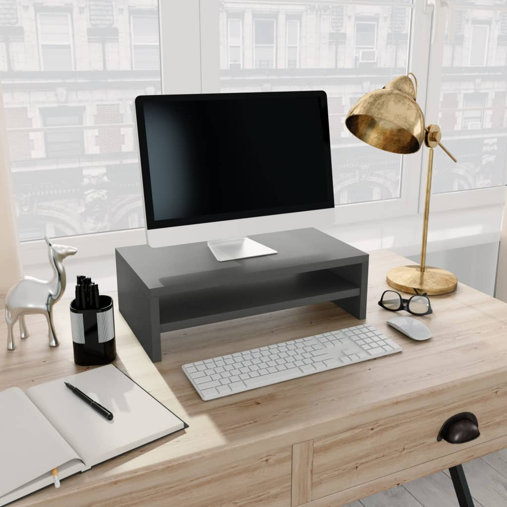 Monitor Stand Grey 42x24x13 cm Chipboard 1