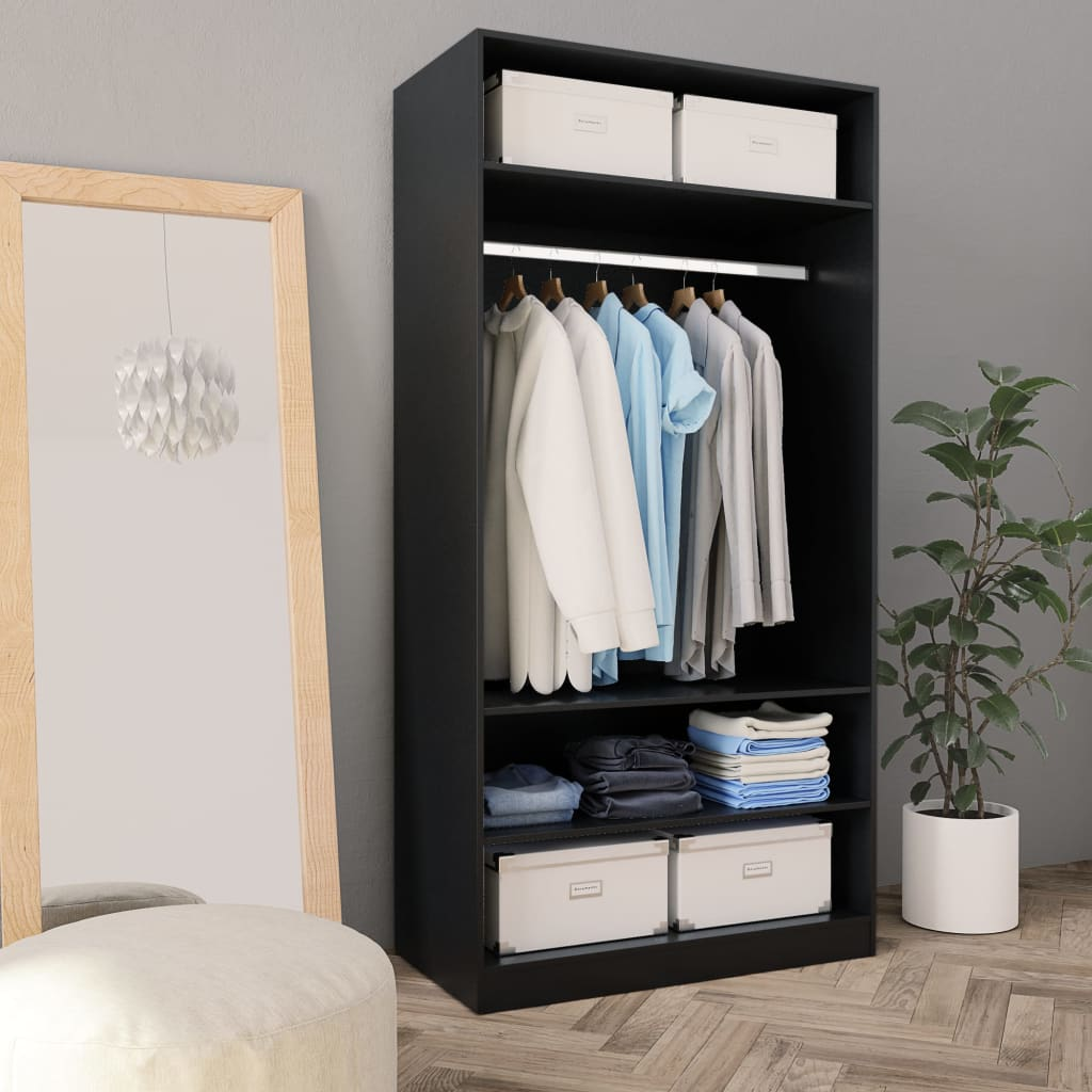Wardrobe Black 100x50x200 cm Chipboard 1