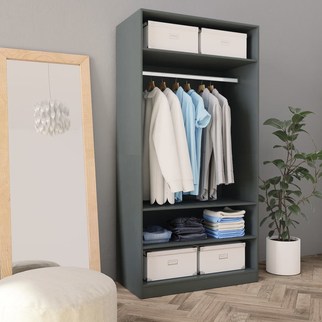 Wardrobe Grey 100x50x200 cm Chipboard 1