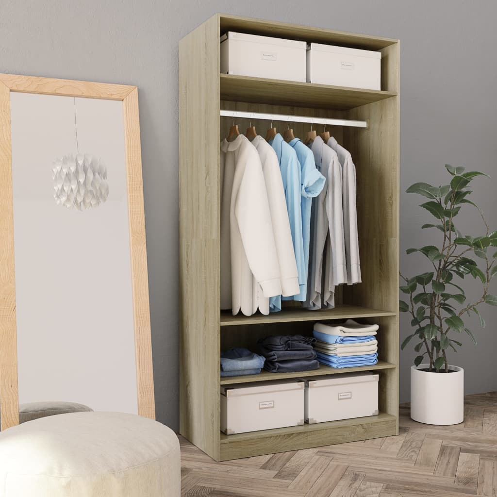 Wardrobe Sonoma Oak 100x50x200 cm Chipboard 1
