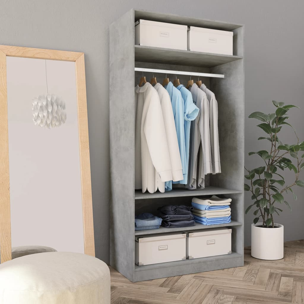 Wardrobe Concrete Grey 100x50x200 cm Chipboard 1