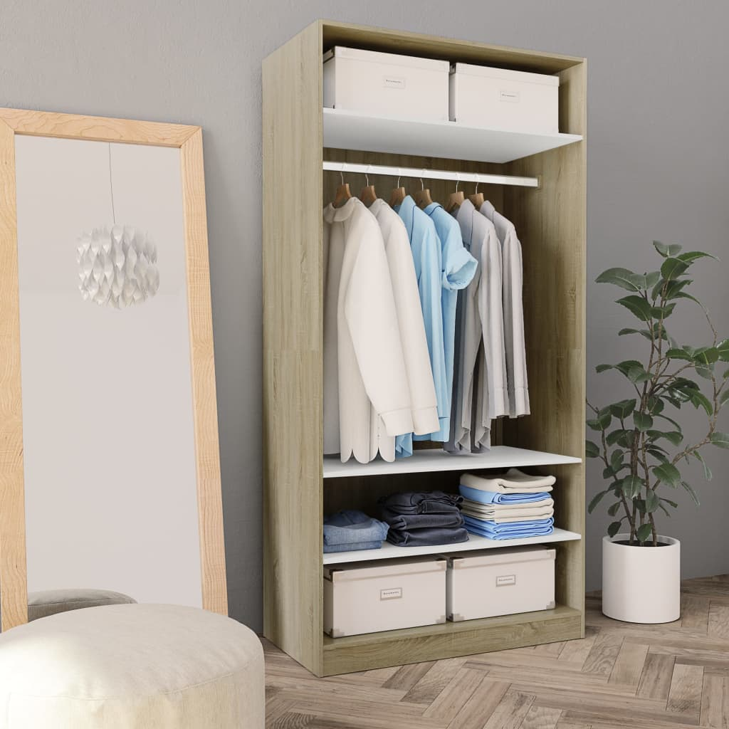 Wardrobe White and Sonoma Oak 100x50x200 cm Chipboard 1