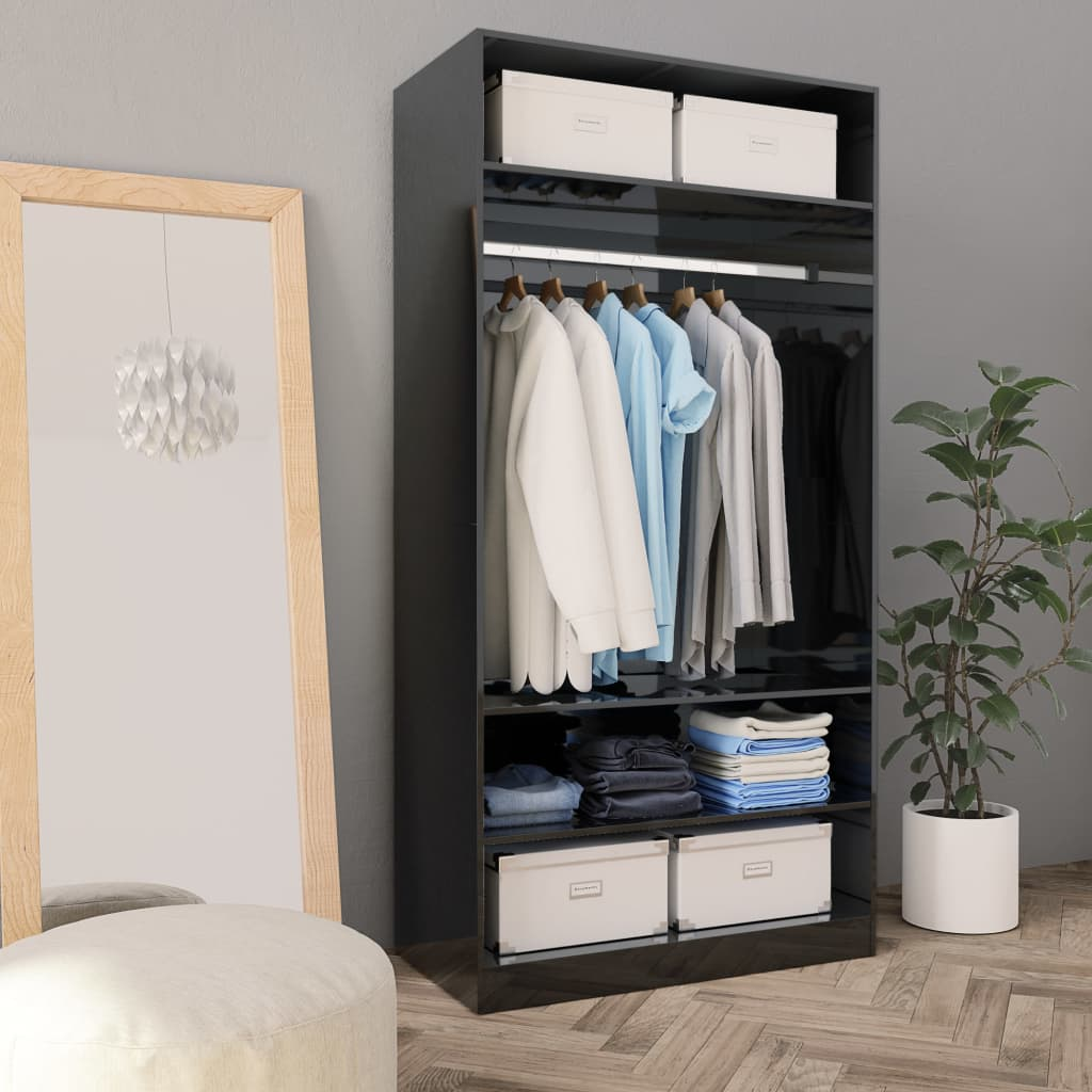 Wardrobe High Gloss Black 100x50x200 cm Chipboard 1