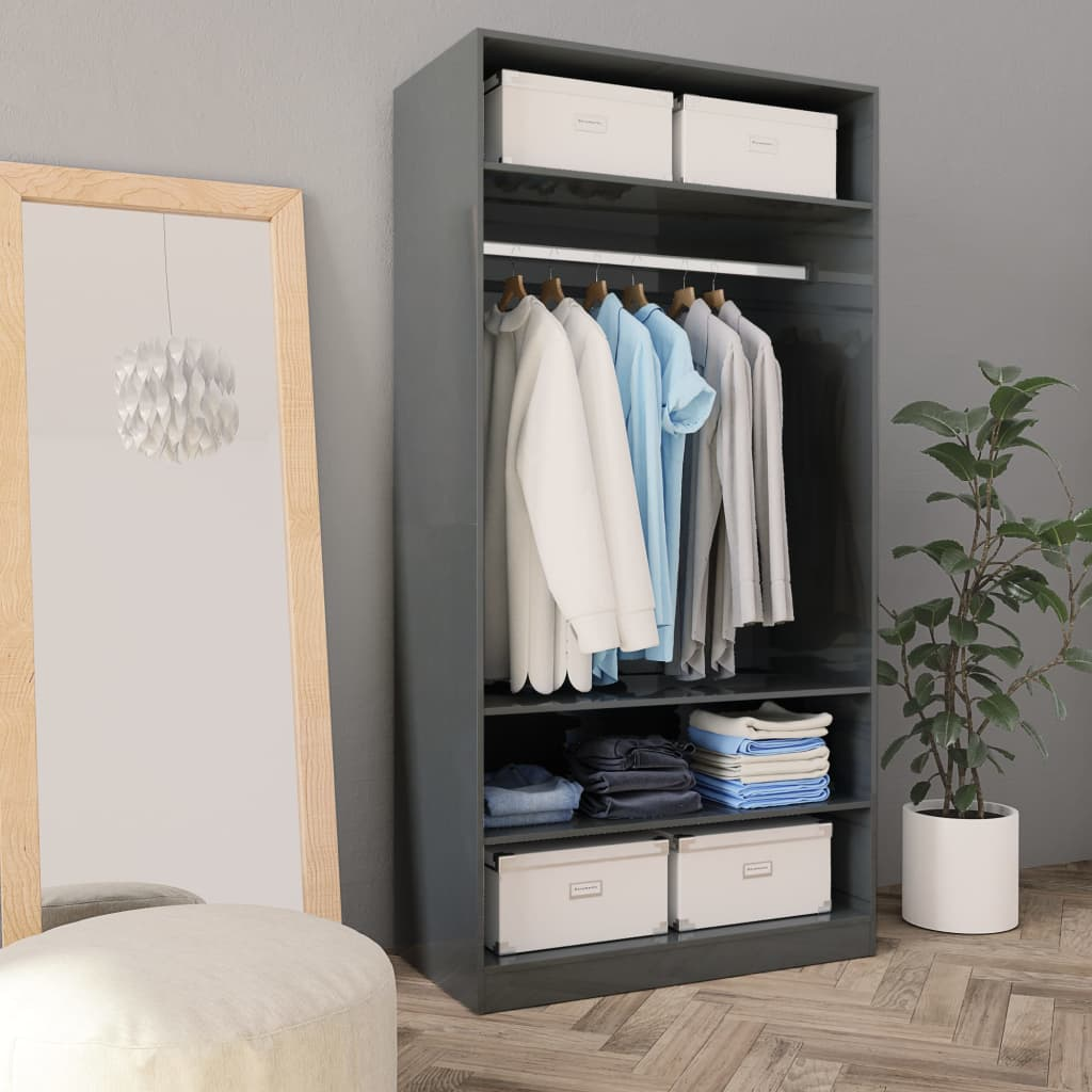 Wardrobe High Gloss Grey 100x50x200 cm Chipboard 1