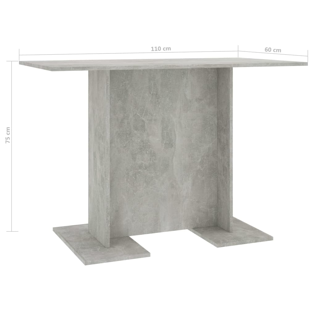 Dining Table Concrete Grey 110x60x75 cm Chipboard 5