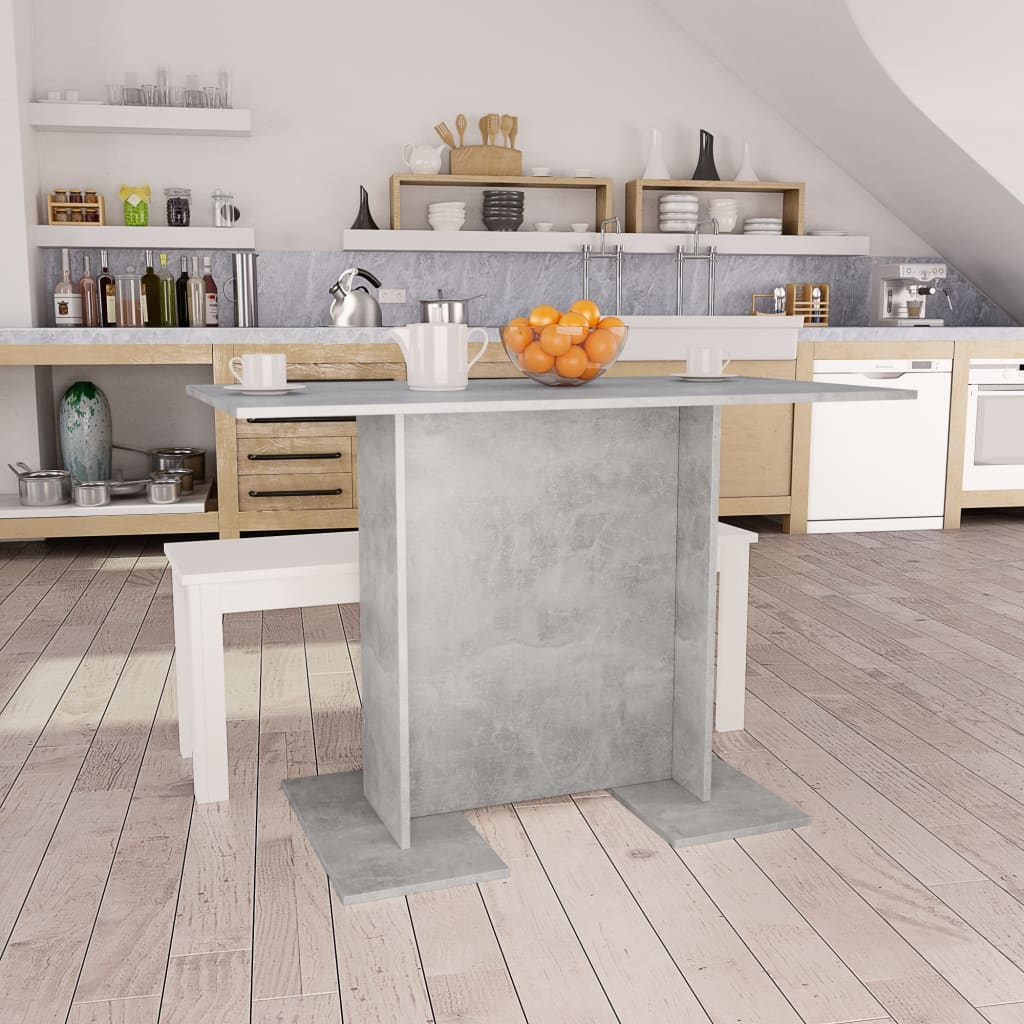 Dining Table Concrete Grey 110x60x75 cm Chipboard 1