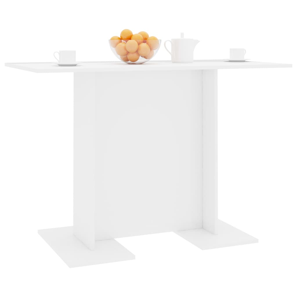 Dining Table High Gloss White 110x60x75 cm Chipboard 3