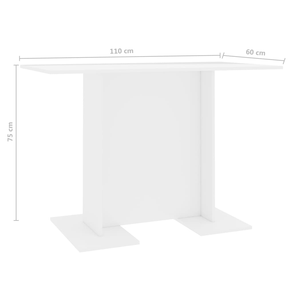 Dining Table High Gloss White 110x60x75 cm Chipboard 6