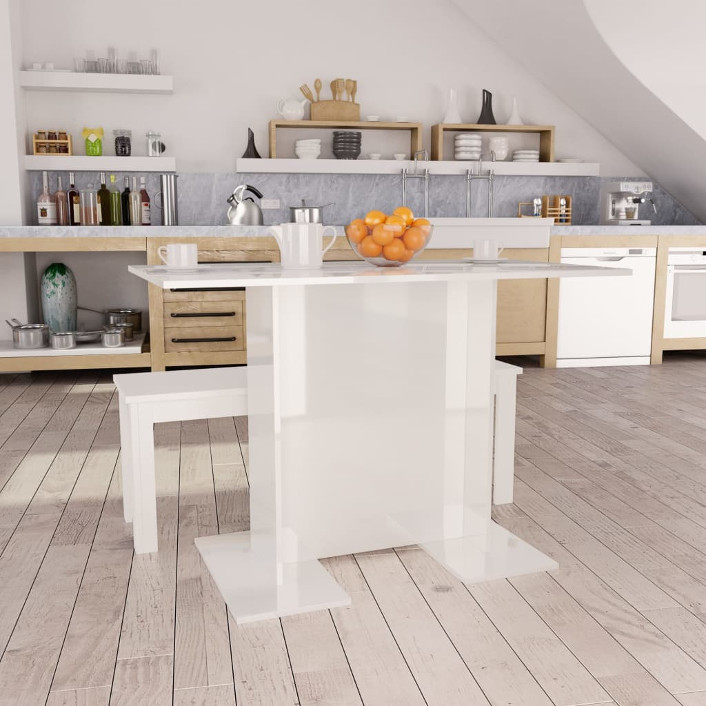 Dining Table High Gloss White 110x60x75 cm Chipboard