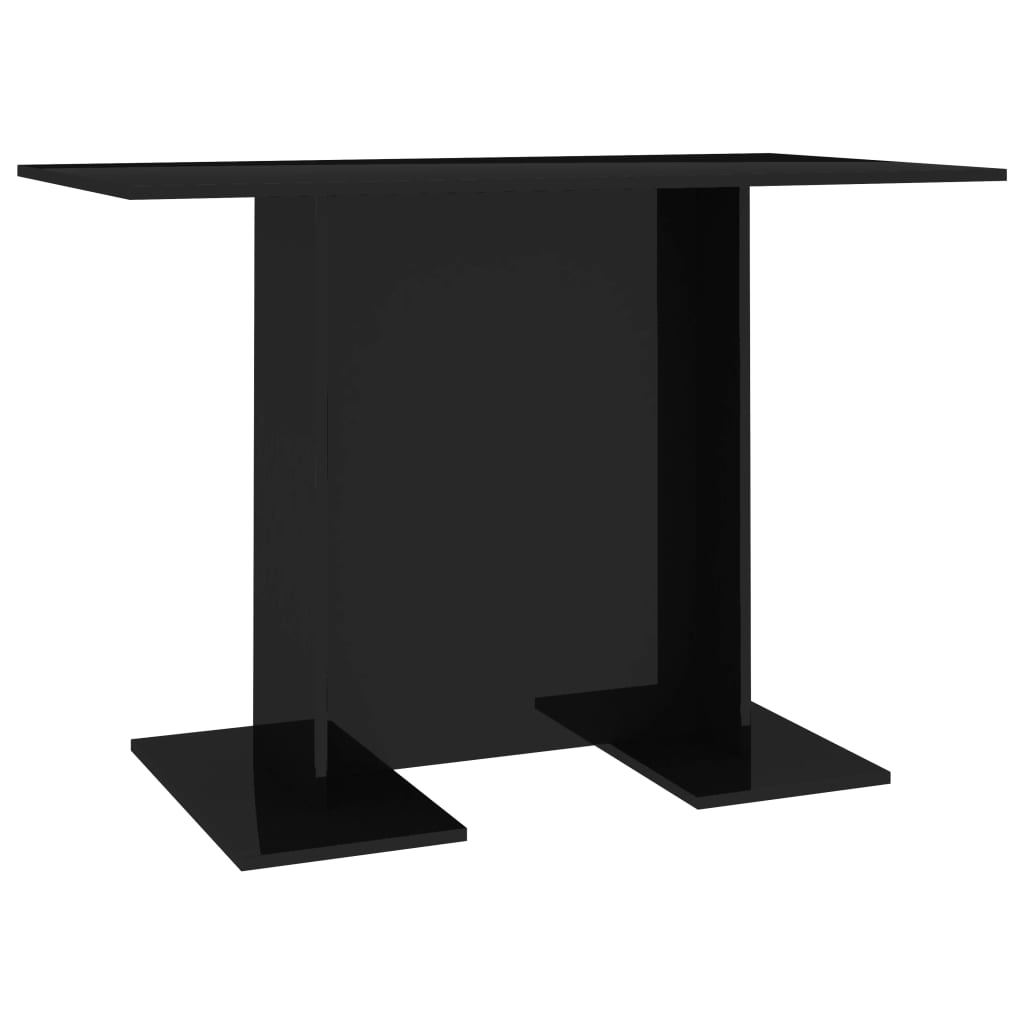 Dining Table High Gloss Black 110x60x75 cm Chipboard 2