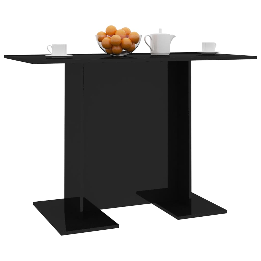 Dining Table High Gloss Black 110x60x75 cm Chipboard 3