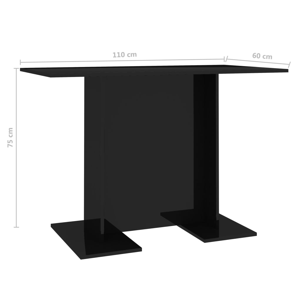 Dining Table High Gloss Black 110x60x75 cm Chipboard 6