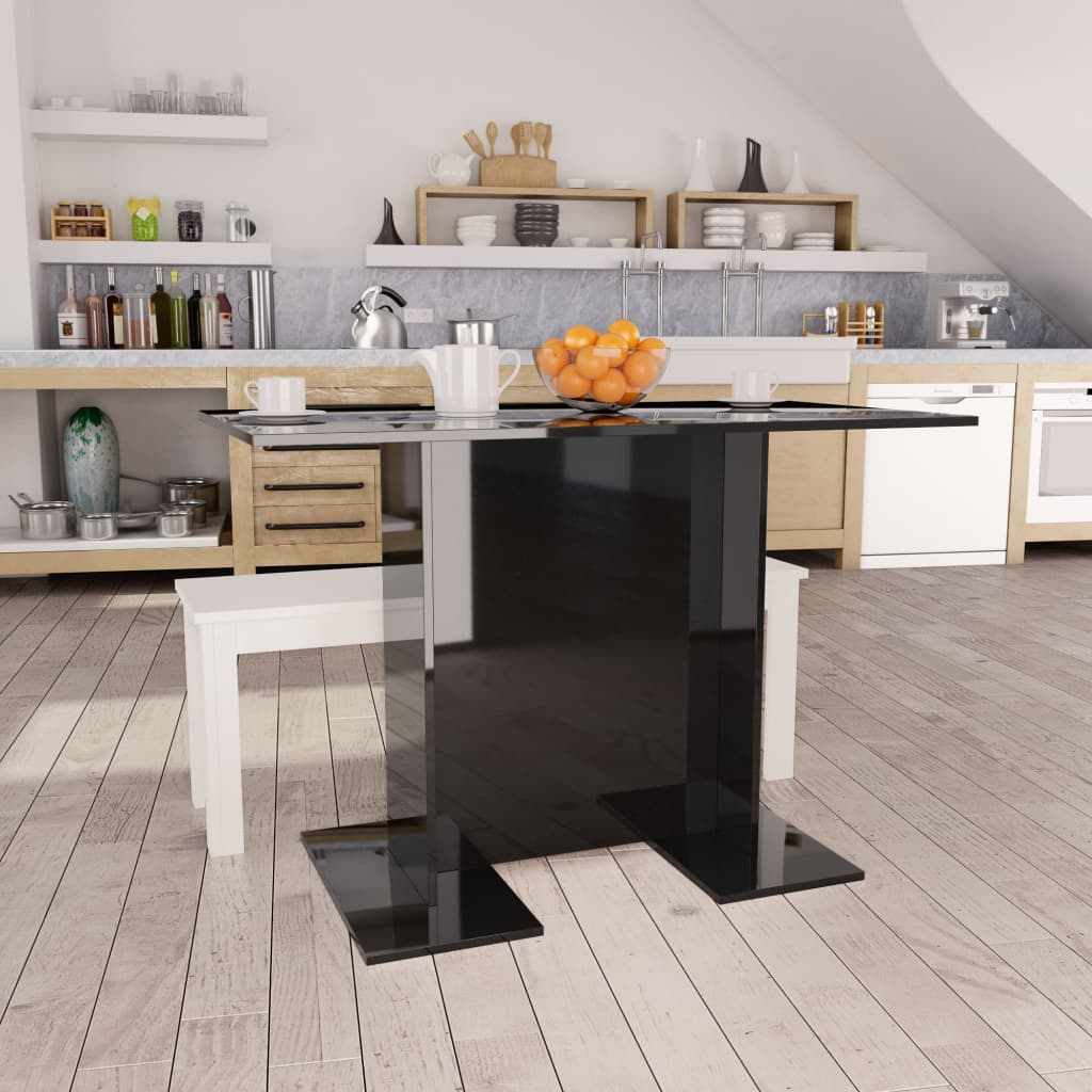 Dining Table High Gloss Black 110x60x75 cm Chipboard 1
