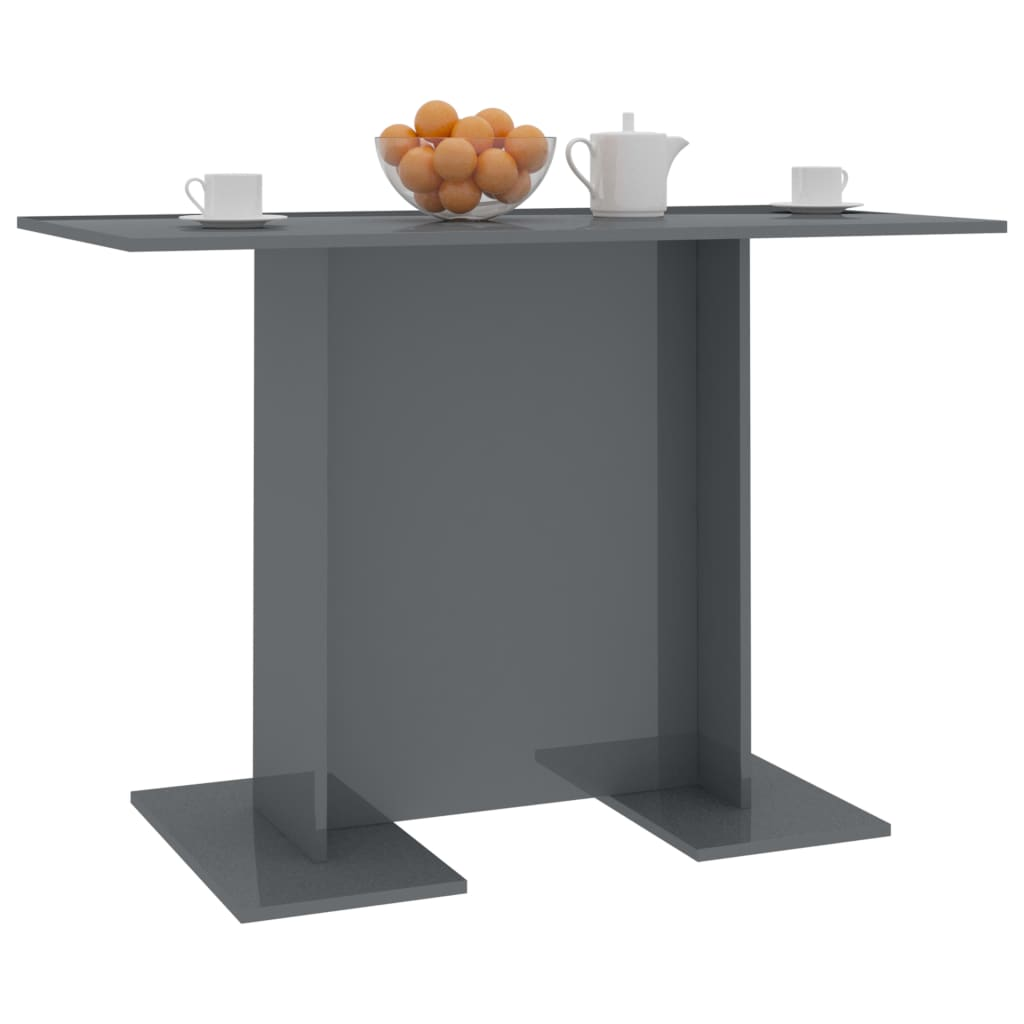 Dining Table High Gloss Grey 110x60x75 cm Chipboard 3