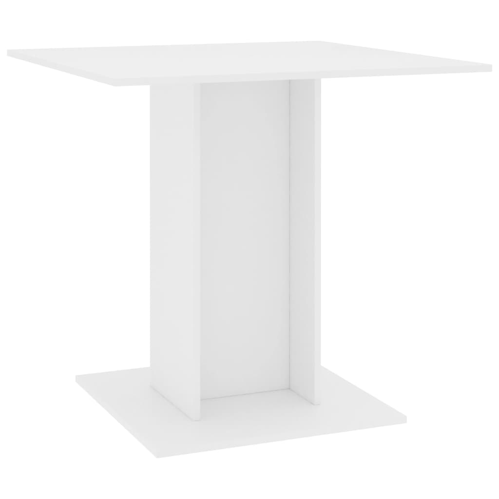 Dining Table White 80x80x75 cm Chipboard 2