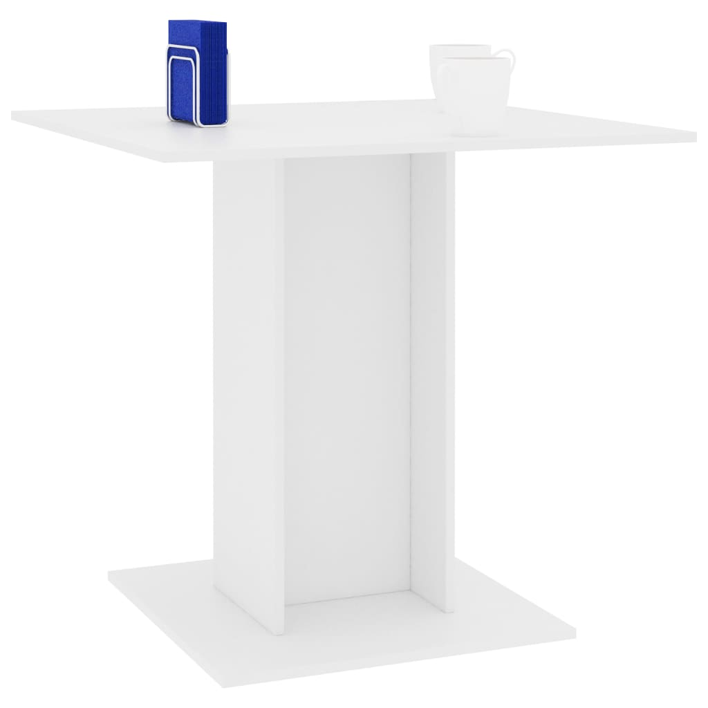 Dining Table White 80x80x75 cm Chipboard 3