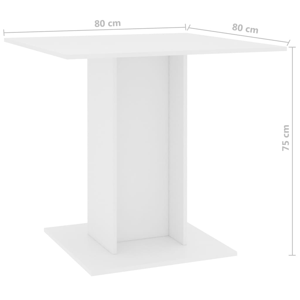 Dining Table White 80x80x75 cm Chipboard 6