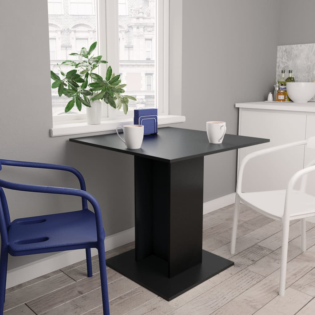 Dining Table Black 80x80x75 cm Chipboard 1