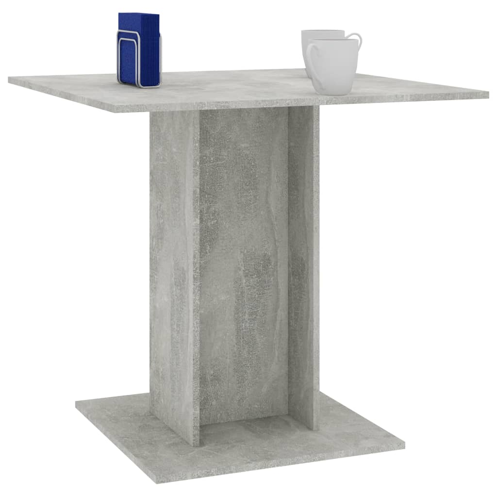 Dining Table Concrete Grey 80x80x75 cm Chipboard 3