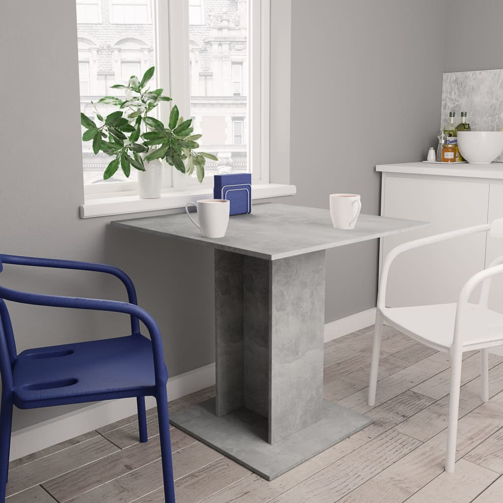 Dining Table Concrete Grey 80x80x75 cm Chipboard 1