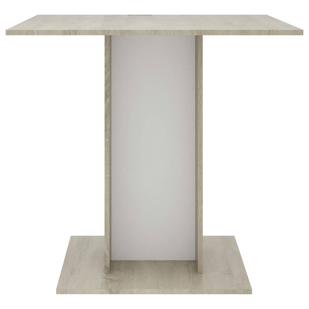 Dining Table White and Sonoma Oak 80x80x75 cm Chipboard 4