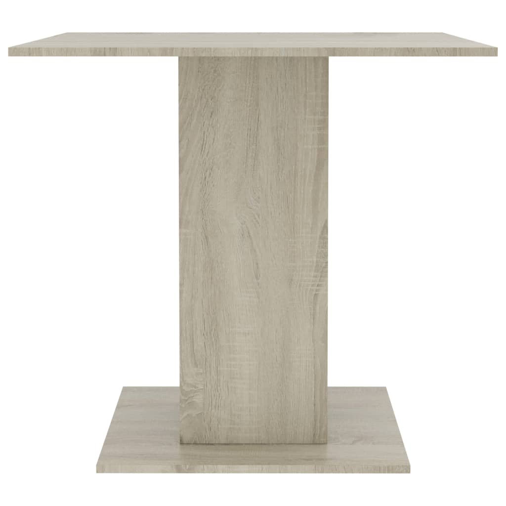 Dining Table White and Sonoma Oak 80x80x75 cm Chipboard 5
