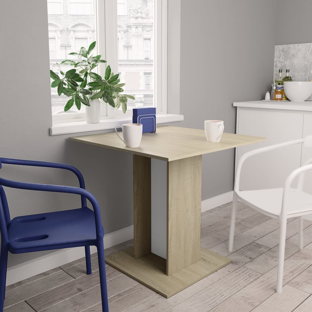Dining Table White and Sonoma Oak 80x80x75 cm Chipboard