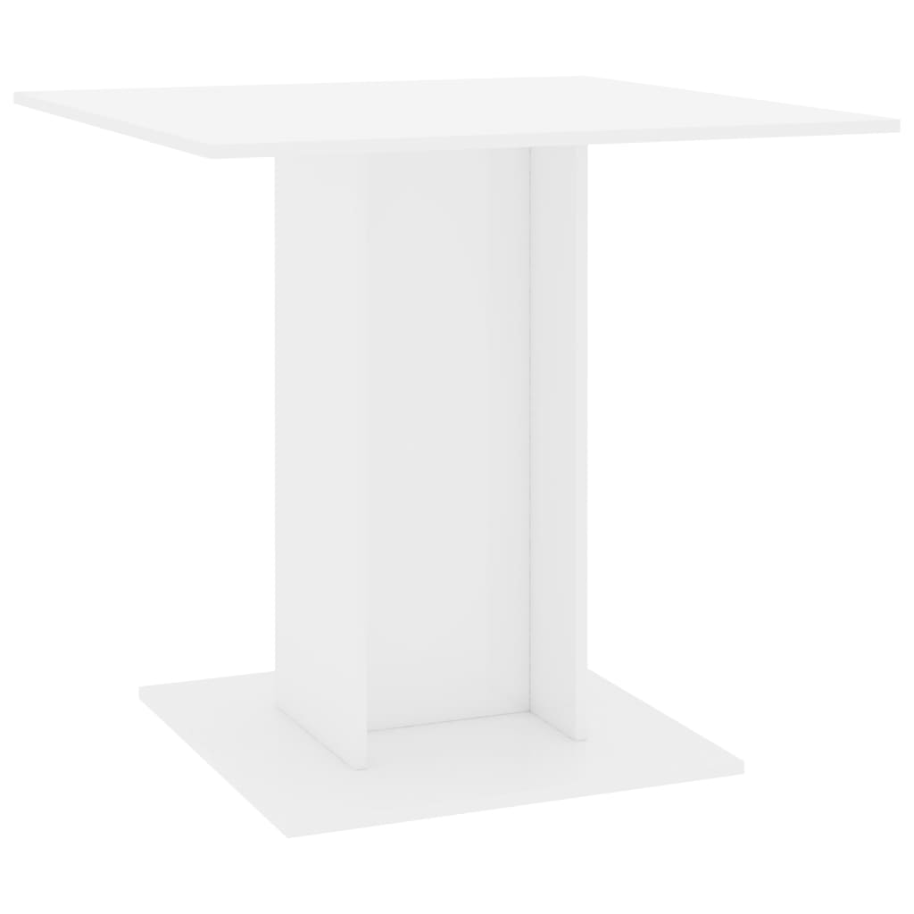 Dining Table High Gloss White 80x80x75 cm Chipboard 2