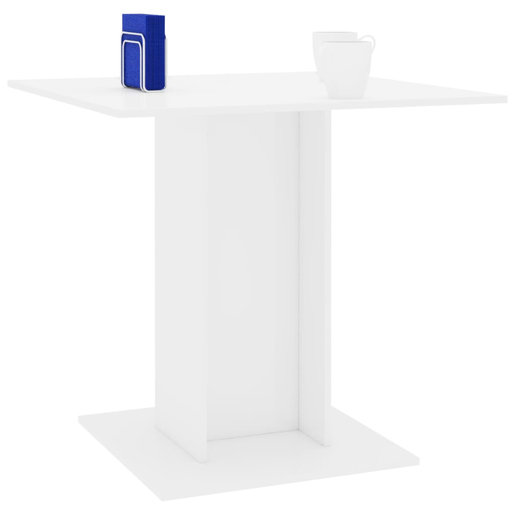 Dining Table High Gloss White 80x80x75 cm Chipboard 3