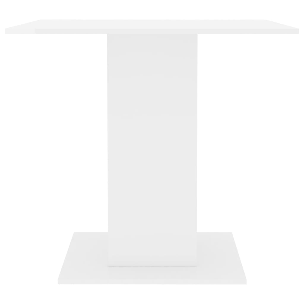 Dining Table High Gloss White 80x80x75 cm Chipboard 4
