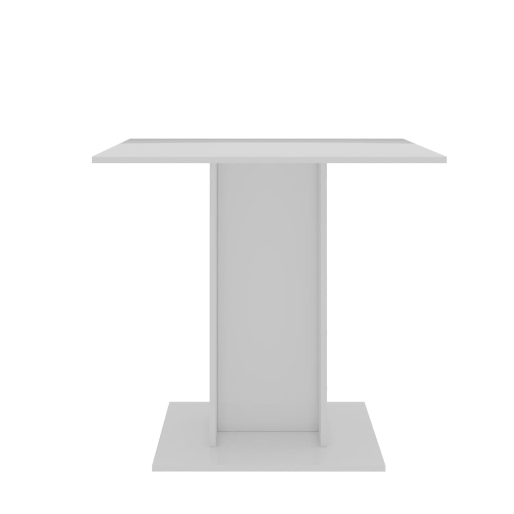 Dining Table High Gloss White 80x80x75 cm Chipboard 5
