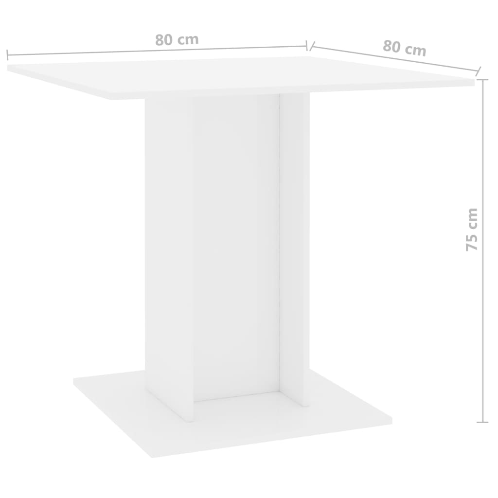 Dining Table High Gloss White 80x80x75 cm Chipboard 6