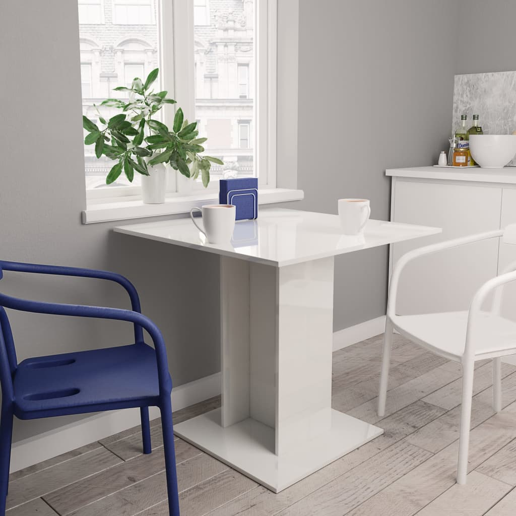 Dining Table High Gloss White 80x80x75 cm Chipboard 1