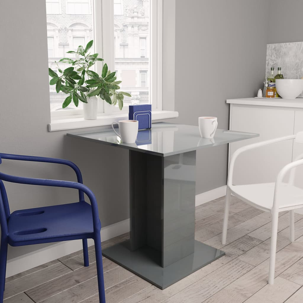 Dining Table High Gloss Grey 80x80x75 cm Chipboard