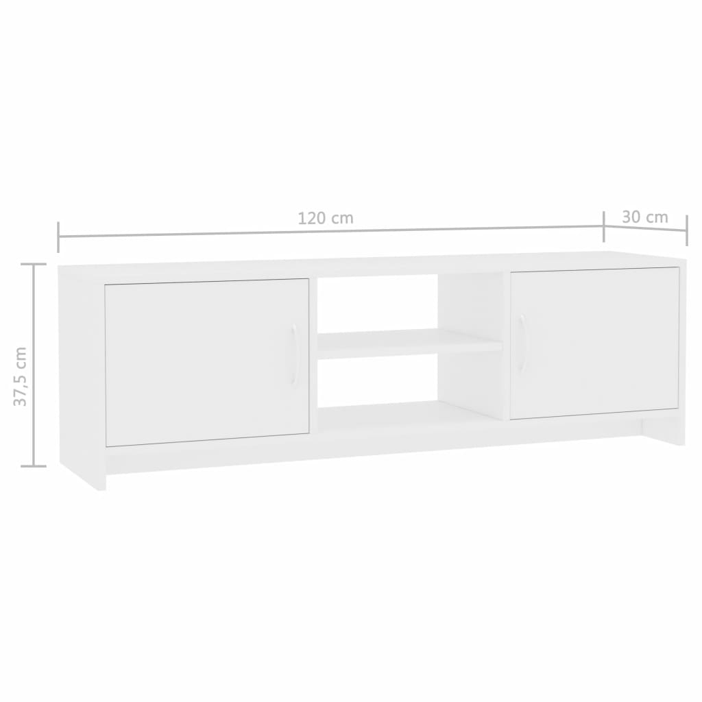 TV Cabinet White 120x30x37,5 cm Chipboard 7