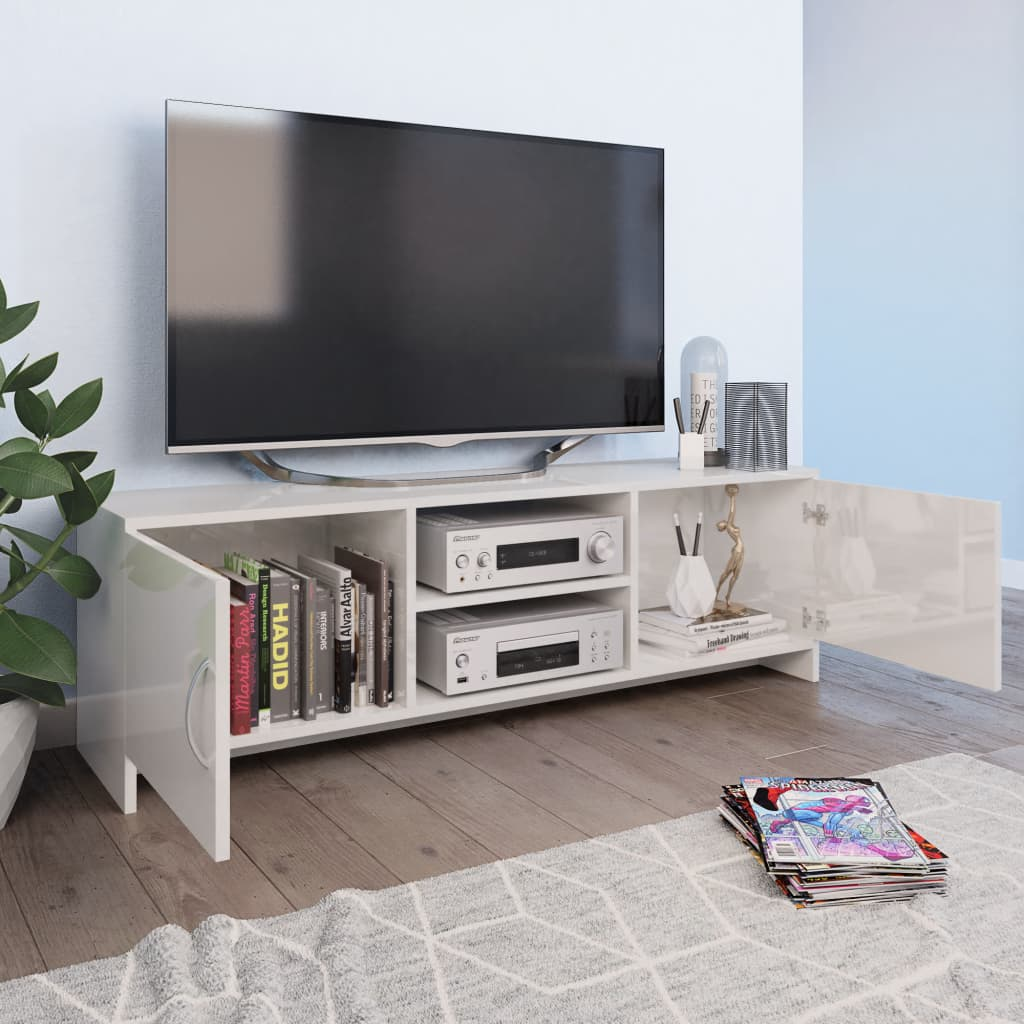 TV Cabinet High Gloss White 120x30x37,5 cm Chipboard 3