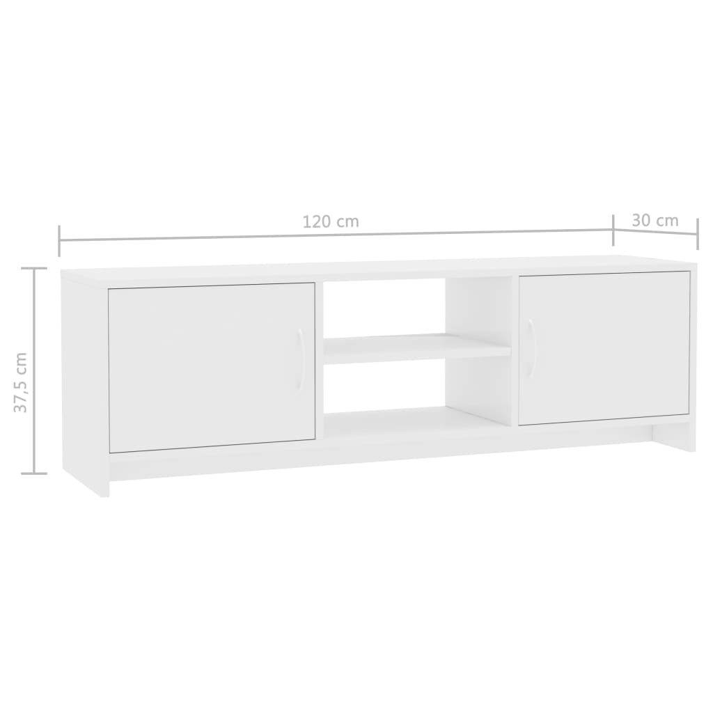 TV Cabinet High Gloss White 120x30x37,5 cm Chipboard 7