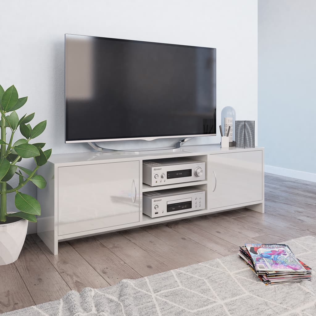 TV Cabinet High Gloss White 120x30x37,5 cm Chipboard 1