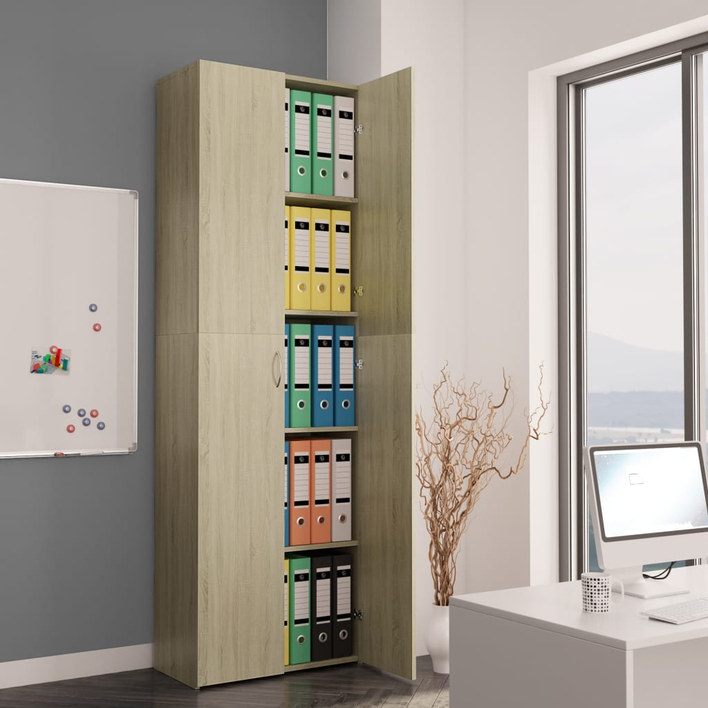 Office Cabinet Sonoma Oak 60x32x190 cm Chipboard 1