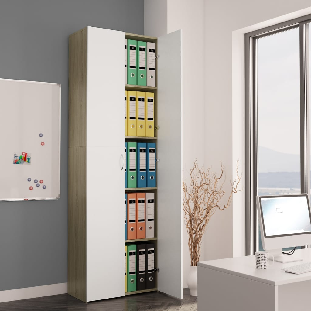 Office Cabinet White and Sonoma Oak 60x32x190 cm Chipboard 1