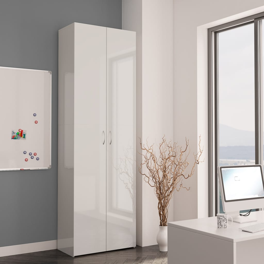Office Cabinet High Gloss White 60x32x190 cm Chipboard 3