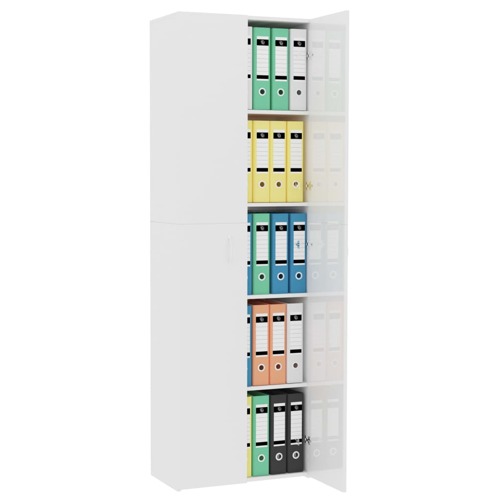 Office Cabinet High Gloss White 60x32x190 cm Chipboard 4